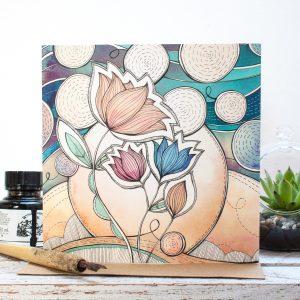 Night Blossom Floral Blank Gift Card, an original midnight garden inspired botanical illustration. Made in the UK. Jessica Wilde Design ©