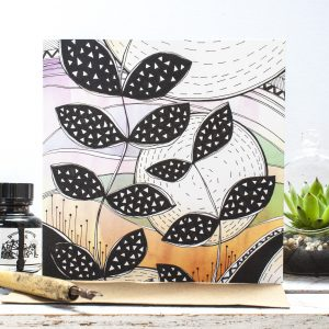 Solstice Floral Blank Gift Card, an original zentangle illustration inspired by Summer botanicals. Made in the UK | Jessica Wilde Designs 2016 ©