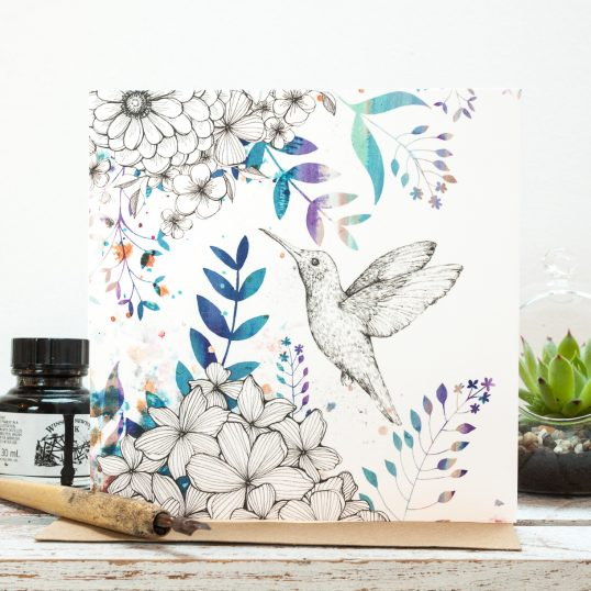 Hummingbird Blossom Floral Blank Gift Card, hand drawn with watercolour highlights. Designed in Staffordshire, made in the UK. Jessica Wilde ©