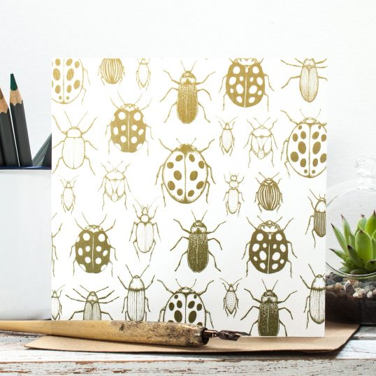 I Like Big Bugs Botanical Blank Gift Card, hand drawn bugs in yellow, green & ochre. Designed in Staffordshire, made in the UK | Jessica Wilde Designs ©