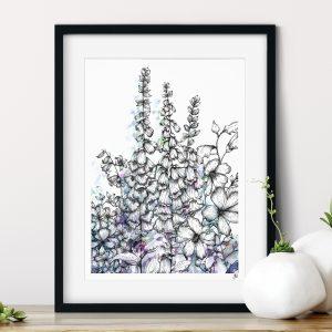 Fox Glove Floral Art Print