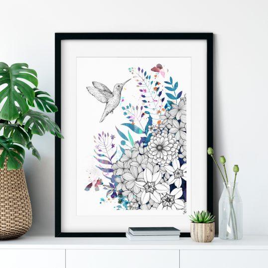 Hummingbird Floral Illustration