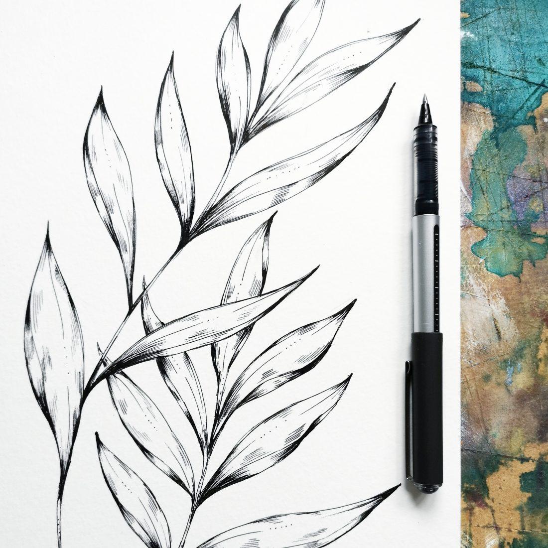 Hand drawn leaf by Jessica Wilde