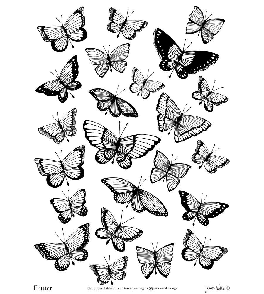 Flutter Butterfly Colouring Sheet